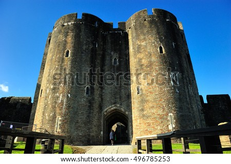Caerphilly Castle in Cardiff, Wales, UK
