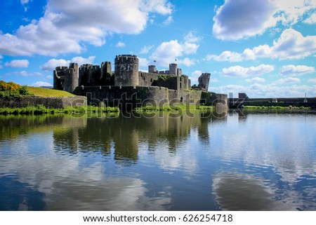 Caerphilly Castle in the Sun