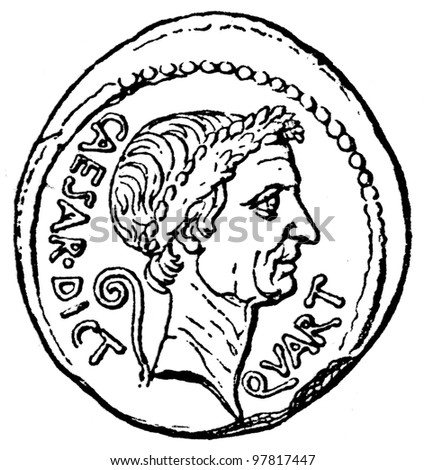 """Caesar Head with the sign of a dictator, denarius of Julius Caesar, 44 BC - an illustration to articke """"Coins"""" of the encyclopedia publishers Education, St. Petersburg, Russian Empire, 1896"""