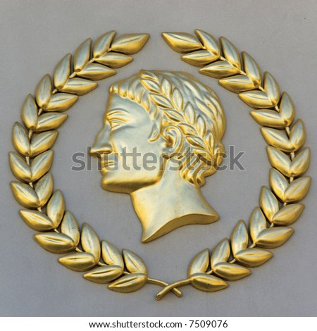 Caesar relief with golden wreath - classical wall decoration