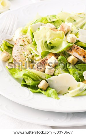 Caeser Salad with chicken and croutons