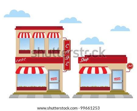 cafe and shop store fronts