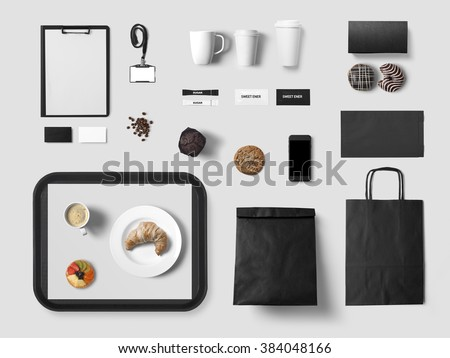 Cafe branding mock up for your design presentation, top view, black style