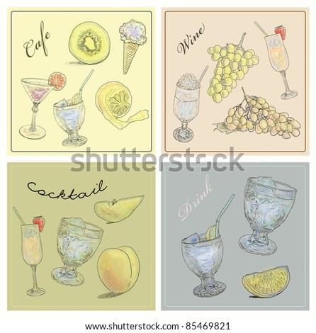 Cafe icons set - stock photo