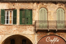 Cafe in the beautiful old building, city of Verona, Italy