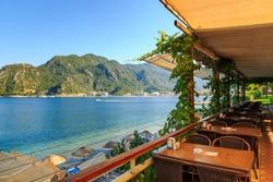 cafe on the street, outdoor restaurant, turkey, summer vacation