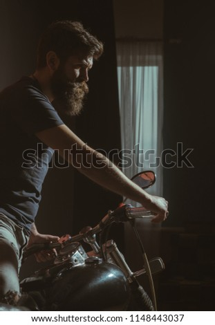 cafe racer. cafe racer poster with bearded biker. cafe racer concept with hipster guy. cafe racer concept. freedomn wheels #1148443037