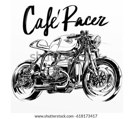 Royalty Free Motorcycle Cafe Racer Banner 469186868 Stock Photo