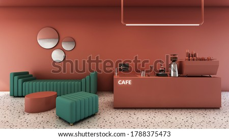 Cafe shop design Minimal,Counter red brick gloss paint,Red brick wall,Sofa green fabric,Stool green fabric,Coffee table red brick gloss paint,Granite stone floor - 3d render