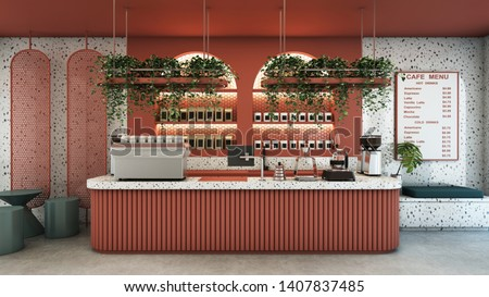 Cafe shop design Modern & Minimal Pink counter top granite stone,Metal light pendant,Pink curved product shelves behind the counter, Menu on wall granite stone,Pink wall,concrete floor-3D render