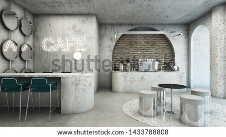Cafe shop modern & Minimal design,Counter concrete waiting,Neon text on concrete wall,Counter cafe concrete,Pendant steel,Concrete wall,Concrete floor,Waiting seat,Concrete floor-3D render