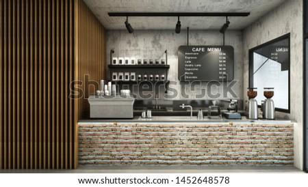 Cafe shop  Restaurant design Minimalist   Loft,Counter brick,Top counter stainless steel,Wall back counter concrete,Concrete floors -3D render