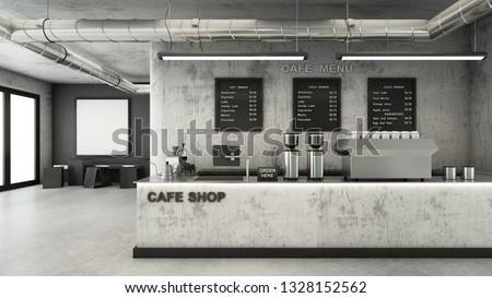 Cafe shop  Restaurant design Minimalist   Loft,Counter concrete,Top counter metal,Mock up on wall concrete,Menu board on wall back counter concrete,concrete floors -3D render