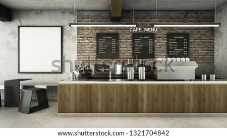 Cafe shop  Restaurant design Minimalist   Loft,Counter wood slat,Top counter metal,Mock up on wall concrete,Menu board on wall back counter brick,concrete floors -3D render