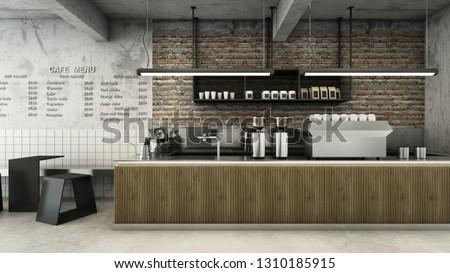 Cafe shop  Restaurant design Minimalist   Loft,Counter wood slat,Top counter metal,  Wall back counter brick,concrete floors -3D render