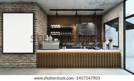 Cafe shop  Restaurant design Modern and Loft,Top counter concrete,Wood slat counter,Wall back counter Wood slat,Brick wall mock up,Concrete floors -3D render