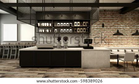 Cafe shop & Restaurant design Modern Loft counter steel black Top counter concrete.side brick wall -3D render