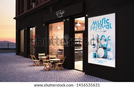 cafe store front mockup with music poster 3d rendering