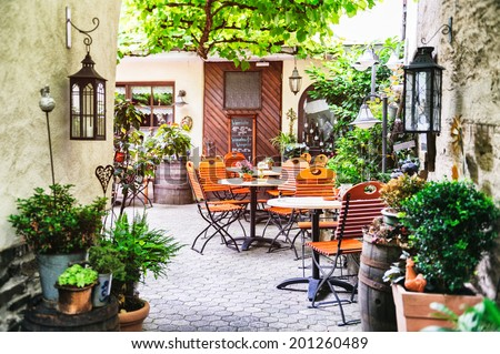 cafe terrace in small european...