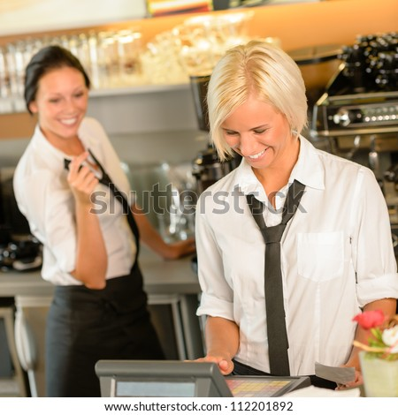 Cafe waitress cashes in order bill register woman working happy