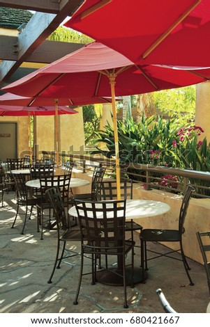 cafe with umbrellas #680421667