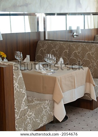 Cafeteria on large cruise ship, close-up