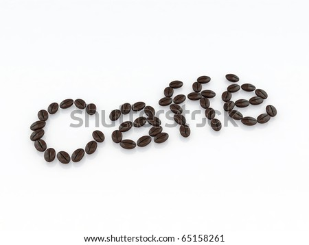 caffe written with coffee beans - stock photo