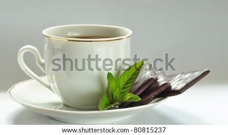 Caffee cup with  mint chocolate