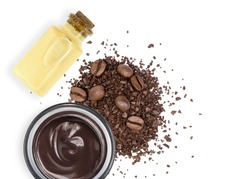 Caffeine body beauty skincare cream with glass bottle of coffee essential oil extract and coffee beans isolated on white background. Chocolate skin treatment concept.Top view. Flat lay.
