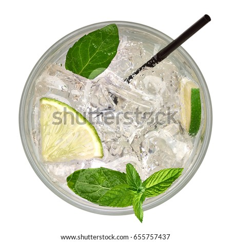 Caipirinha, Mojito cocktail from top, vodka or soda drink with lime, mint and straw isolated on white background including clipping path. From top view.