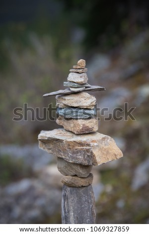cairn balanced stones in banff...