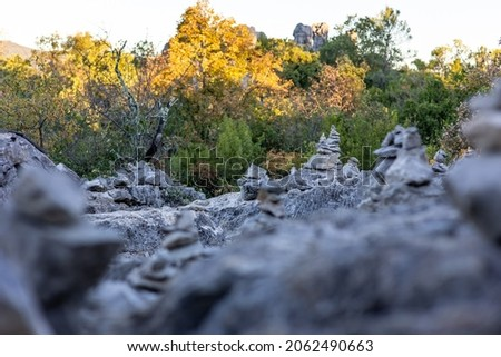 Cairn in the forest around the Mer de Rochers in Sauve Photo stock ©