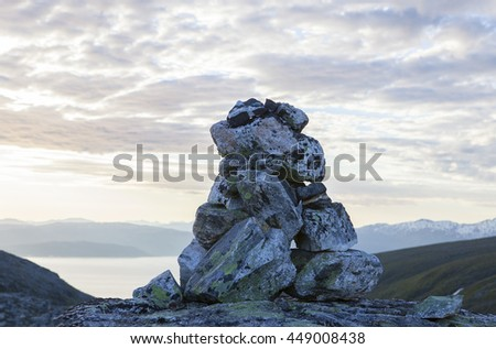 Cairn on the top of a  Norwegian mountain.Northern Norway.Tromso. Imagine de stoc ©