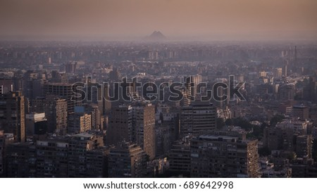 Cairo and Pyramids from Cairo tower. #689642998