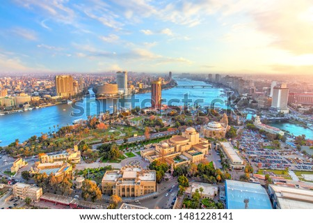 Cairo downtown and the Nile river, aerial view, Egypt #1481228141