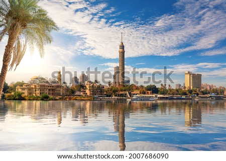 Cairo downtown, view on Gezira Island and the tower from the Nile, Egypt