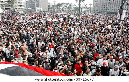 CAIRO - FEB 1: Hundreds of Egyptian anti-government protesters gather in Tahrir Square in Cairo, Egypt on Feb 1, 2011.