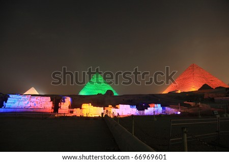 CAIRO - SEPTEMBER 10: Giza pyramids light up during sound and light show to celebrate the Ramadan Feast festival on September 10, 2010 in Cairo, Egypt.