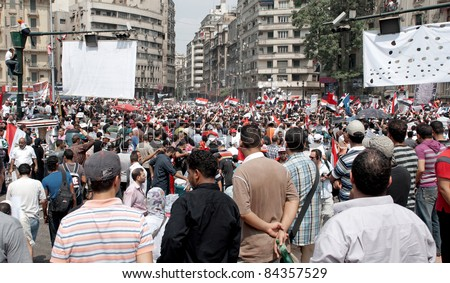 """CAIRO - SEPTEMBER 9: Thousands of Egyptians converged on Cairo's Tahrir Square to demand reforms in a turnout dubbed """"correcting the path of the revolution"""" in  Cairo, Egypt on September 9, 2011"""