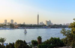 Cairo Tower, Cairo on the Nile, Egypt, with the Nile River view, Sunset.