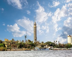 Cairo Tower, Cairo on the Nile in Egypt with the Nile River view