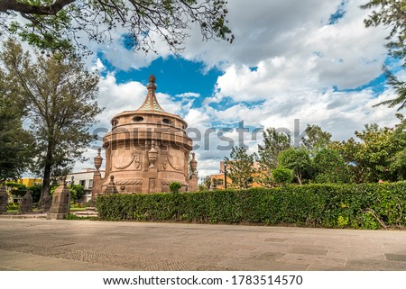 Caja del Agua (Water box) One of the main symbols of the city of San Luis Potosí in Mexico, built between 1828 and 1835, in a neoclassical style, quarry material. Stockfoto ©