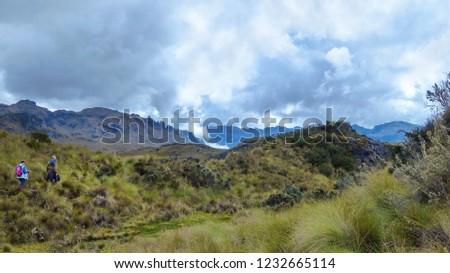 Cajas National Park, Andean Highlands, South America, Ecuador, Azuay province to the West from Cuenca. Toreadora lake (Laguna La Toreadora) in cloudy day #1232665114