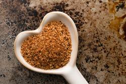 Cajun Seasoning in a Heart Shaped Spoon