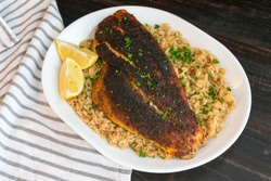 Cajun-style Blackened Red Snapper on Dirty Rice