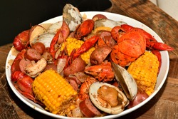 Cajun style seafood boil on a serving dish