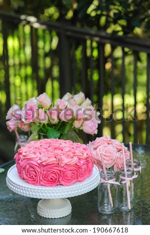 Cake and party table outdoor Sweet buffet Candy bar