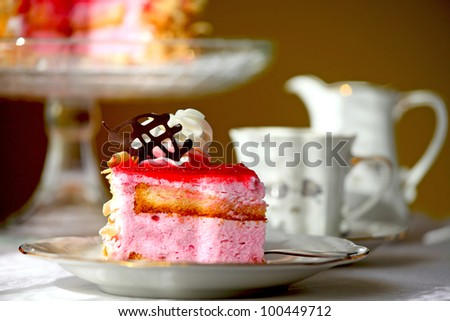 Cake and tea - stock photo