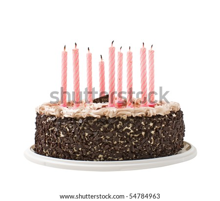 cake chocolate and candles  isolated on white background