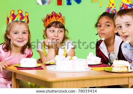 Cake eating contest at birthday party